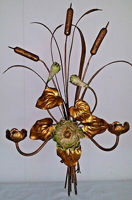 Large Antique Vtg Italian Florentine Gilt Gold & Green Metal Tole Wall Sconce
