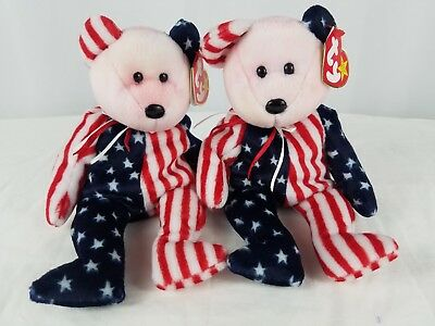 TY Beanie Baby SPANGLE Pink Face BEAR 1999 American Flag 4th JULY Set of 2