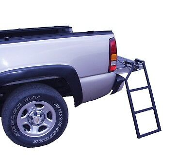 Pickup Tailgate Step Ladder Heavy Duty Folds Secure Climb Mount Truck Trailer