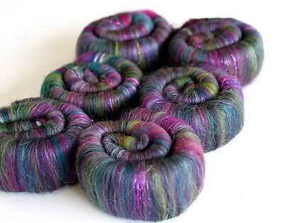 Rolags Merino Wool & Silk hand carded Peacock Sparkle 100g