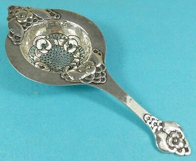 Stunning Danish Sterling Silver Tea Strainer Leaves Flowers Evald Nielsen 1921