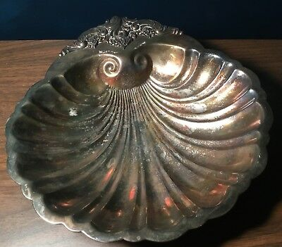 "Vintage Antique Silverplate Baroque by Wallace #272 Large 11.5"" Shell Bowl Dish"