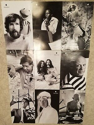 """Set of 9 near mint APPLE POSTERS THINK DIFFERENT * 17/11"""" EDUCATIONAL SET"""