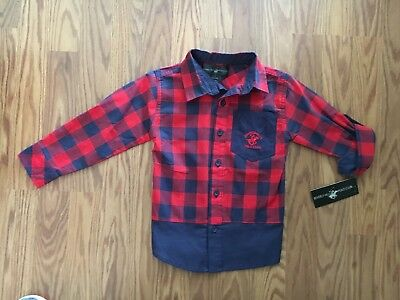 1608eabe1 NEW BEVERLY HILLS Polo Club toddler boys red   blue plaid shirt size ...