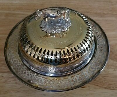 19C Silver Plate Vented Butter Dish w/ Cow Tiffany and Co New York