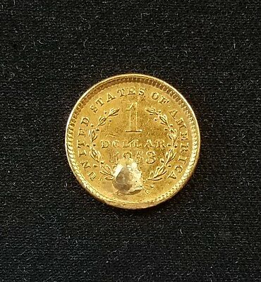 1853 $1.00 Liberty Head gold piece! Partially holed, then filled. NO RESERVE!