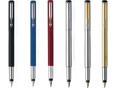 Parker Vector Stainless Steel Fountain Pen Blue Black Red Orange Brown Assorted