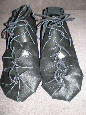 New Handmade Renaissance Woman's Real Finished Leather Shoes One Size Fits Most