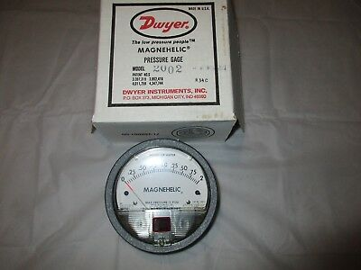 """Dwyer 2002 Magnehelic Differential Pressure Gauge, Type , 0 to 2"""" WC"""