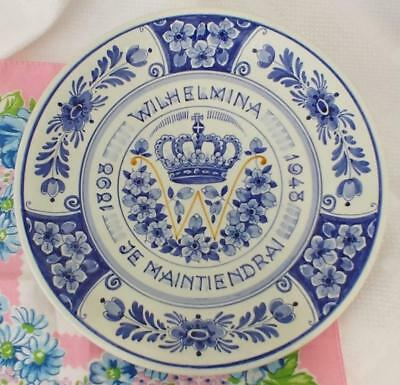 Vintage QUEEN WILHELMINA JE MAINTIENDRAI 1898 - 1948 Commemorative Delft Plate