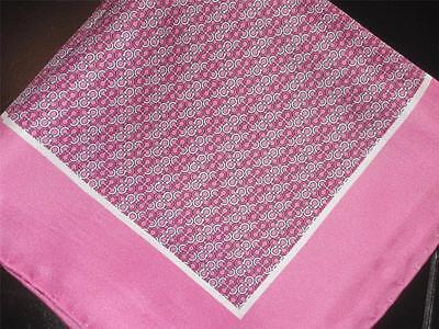 """New 14"""" 100% Silk Pocket Square Hand Rolled Pink Sherbet  Print"""