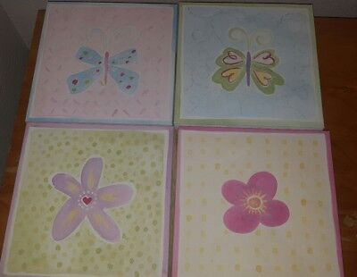 Pottery Barn Kids Set Of 4 Canvas Flower and butterfly Wall Art Pictures 8x8 ea