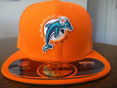 MIAMI DOLPHINS NEW ERA 59FIFTY NFL ON FIELD SIDELINE ORANGE FITTED HAT Sz 7  3  84a6d8b1d