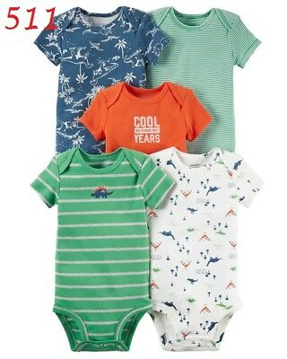 2361236bc Nwt Carter`s Baby Boys Bodysuits Set 5-Pack Cotton Short Sleeve 3 Months