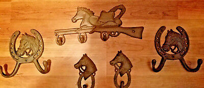 Wow~Set Of 5~Western Cast Iron Set~2 Horse Hooks/rifle Horse Hook/2Horse Dble Hk