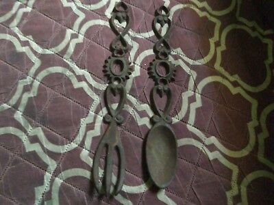 VINTAGE SET OF Rusty Cast Iron Fork & Spoon Wall, Country kitchen ...