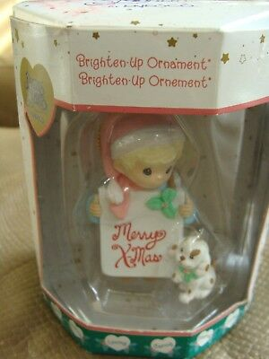 Precious Moments Brighten-Up Child w/ Merry Christmas Sign  Ornament - 2001