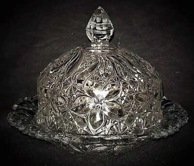 eapg Butter Dish,Daisy & Button, Indiana Glass, Co, Narcissus Lily,  c1910, 7.25