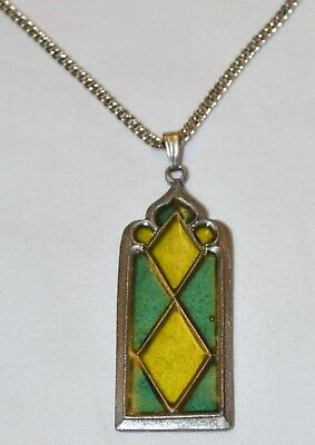 Alva Museum Studios Vintage Stained Glass Style Gothic Window Pendant Necklace