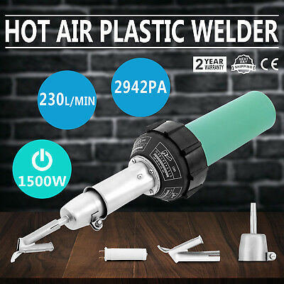 1500W Hot Air Torch Plastic Welder Heat Gun Pistol Welding Kit w/ Nozzle + Rod