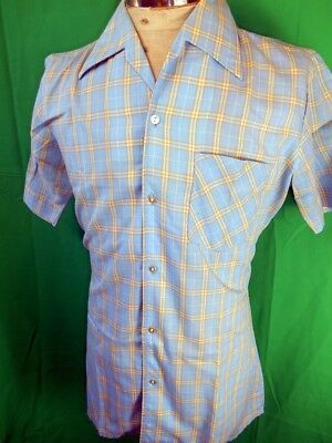 Vintage 60s Bright Blue Berny Poly/Cotton Short Sleeve Casual Summer Shirt M NOS