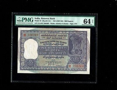 India | 1957-62 | 100 Rupees | PICK#44 | PMG 64 NET |
