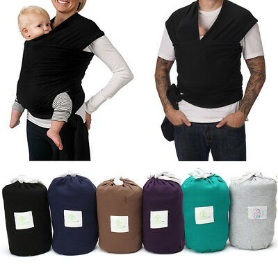 Organic Cotton Stretchy Wrap Sling Baby Carrier BLACK & GREY - NEWBORN to 35lbs