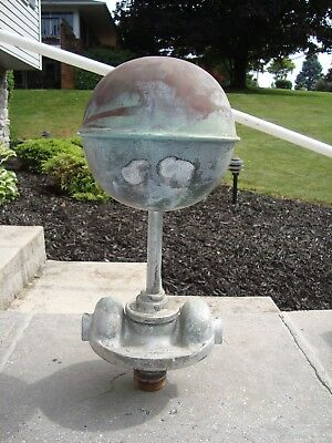 vintage huge american flag pole topper ball 1950,s w/ dual pulleys