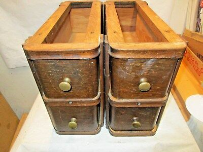 "4 vintage Singer Treadle Sewing Machine Oak Drawers with Frames 15""x10.5""x6"" NR"