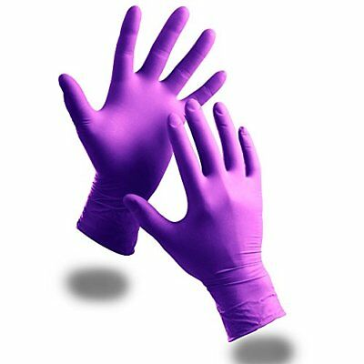 100 x Extra Strong Purple Powder Free Nitrile Disposable Gloves (Large) - ...