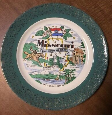 """Vintage Homer Laughlin Missouri The Show Me State Plate 10"""" Green with Gold Gilt"""