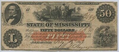 1862 State of Mississippi Confederate $50 Treasury Note Fricke # MS3CR2A #3399