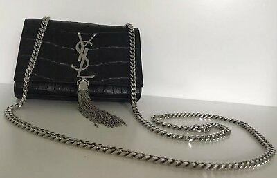 737ff3e8db YVES SAINT LAURENT Black Croc Small Kate Tassel Chain Bag ...