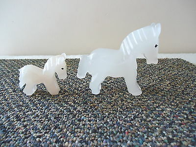 """Vintage Set Of 2 Quartz Carved Horses """" BEAUTIFUL COLLECTIBLE DISPLAYABLE SET """""""