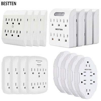 4 Pack Electrical 6 Way Outlet Plug Wall Mount Tap Adapter Power Socket, White