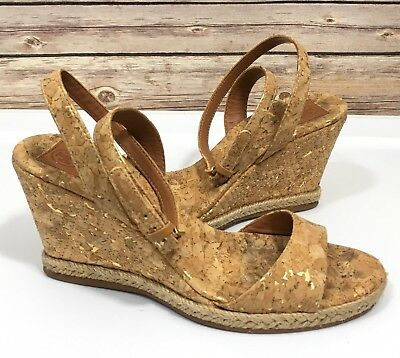 4d0388b5c01ba Tory Burch Marion Quilted Espadrille Wedge Sandals SZ 5.5 M Cork Leather  Ankle