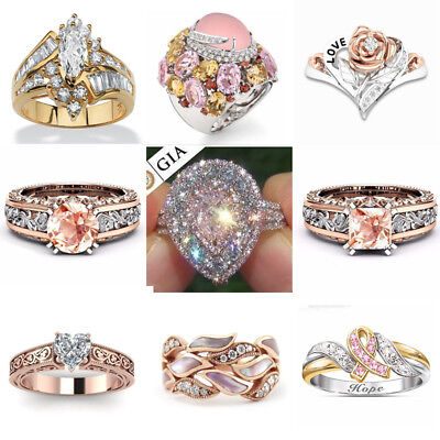 Beauty 18K Rose Gold Filled White Pink Sapphire Women Wedding Gift Ring Size6-10