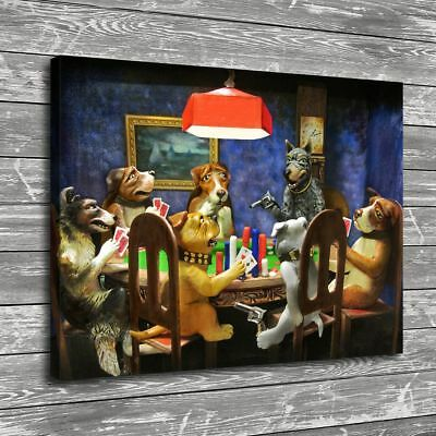 Dogs Playing Poker Gun Home Decor Room HD Canvas Print Pictur Wall Art Painting