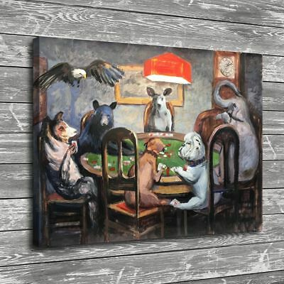 Animals Playing Poker Home Decor Room HD Canvas Print Pictur Wall Art Painting