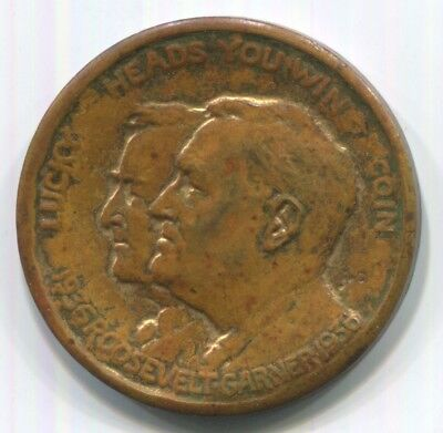 """1936 FDR / Roosevelt - Garner Lucky """"Heads I Win / Tails You Lose"""" Flipping Coin"""