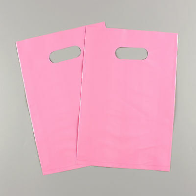"""2pcs Plastic Merchandise Shopping Bags 12"""" x 15"""" Glossy Pink  with Handles"""