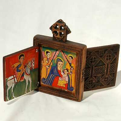 Old Ethiopian Coptic Orthodox Wood Icon double Diptych Painted Religious