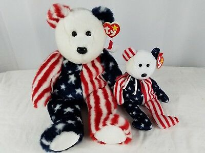 2 TY Beanie Baby SPANGLE White Face BEAR 1999 American Flag Fabric 4th JULY