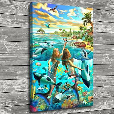 "12""x18""Mermaid Fantasy Ocean World Home Decor HD Canvas Print Wall Art Painting"