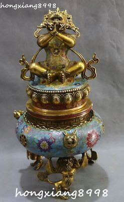 Cloisonne Enamel Gold Gilt Mahakala Wrathful Deity Buddha Incense Burner Censer