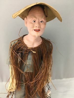 Old Chinese Fisherman Composition Doll Vintage Figurine Statue Wood Stand Rare