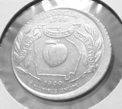 1999 -D GEORGIA STATE QUARTER OFF CENTER ERROR Coin