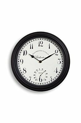 Outdoor indoor Garden Wall Clock Thermometer 30cm 12 inch rust colour