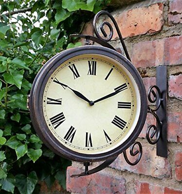 Warwick Outdoor Garden Clock With Thermometer And Swivel Station Bracket - ...