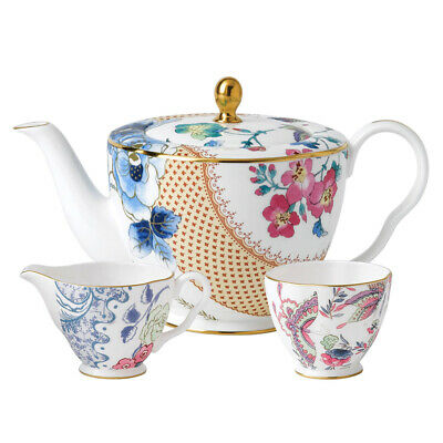 NEW Wedgwood Butterfly Bloom Teapot, Sugar & Cream Set